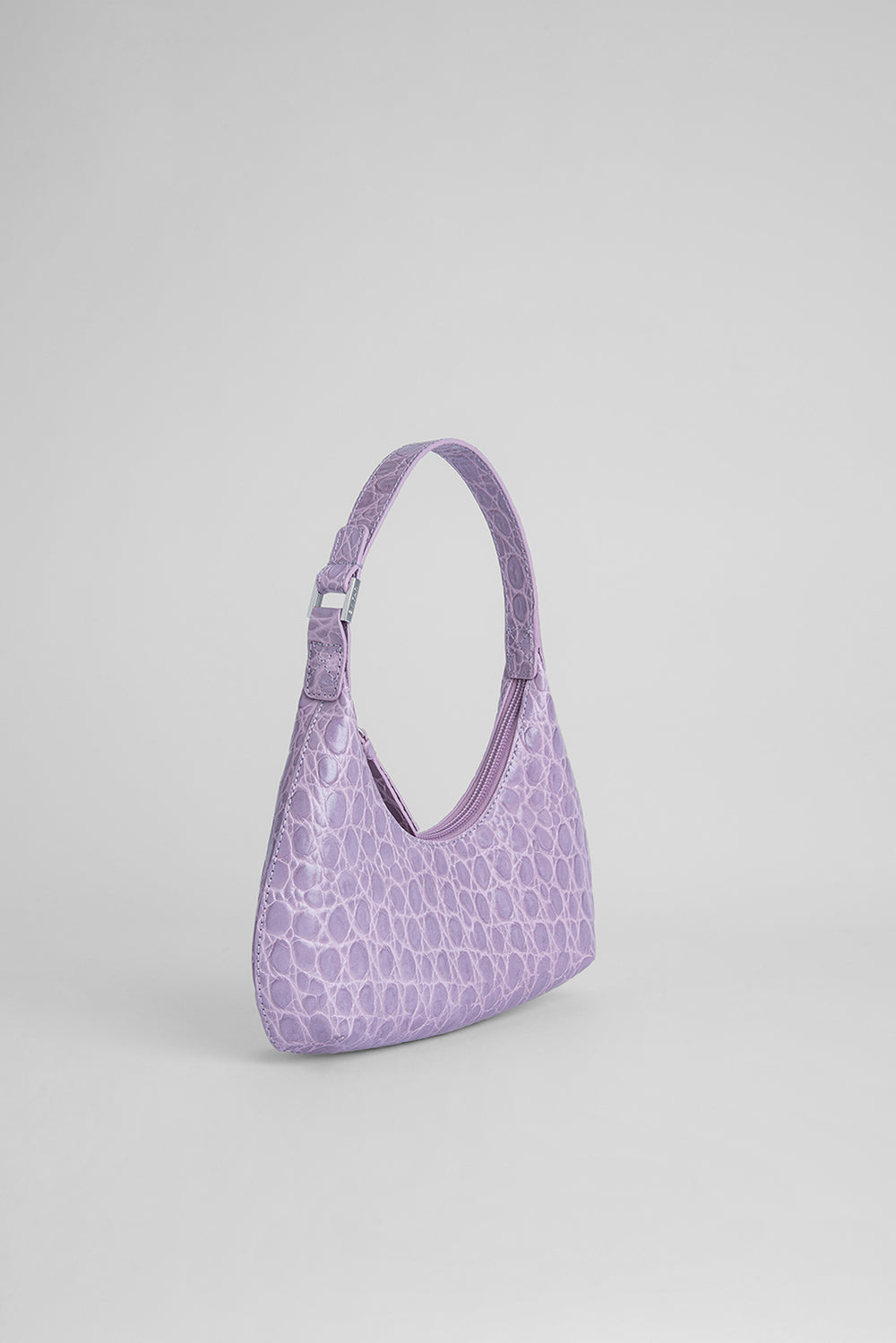 Baby Amber Lilac Circular Croco Embossed Leather