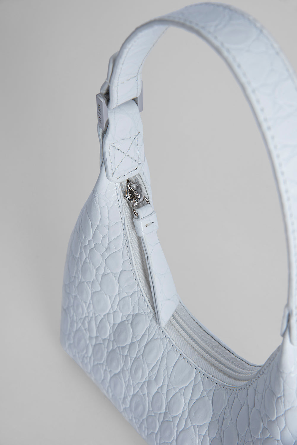 Baby Amber Optic White Circular Croco Embossed Leather