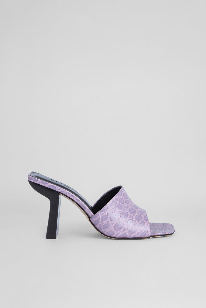 Liliana Lilac Circular Croco Embossed Leather