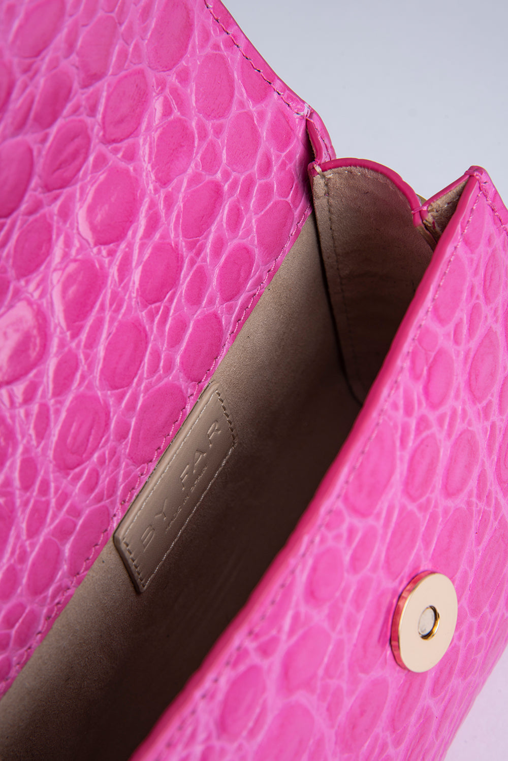 Mini Fuchsia Circular Croco Embossed Leather