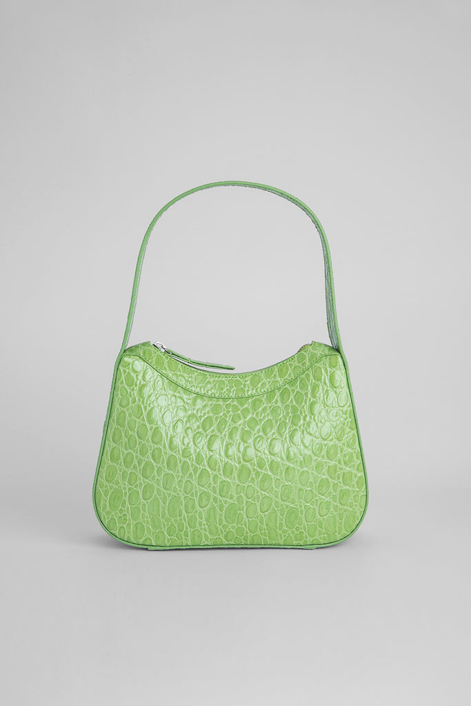 Kiki Pistachio Circular Croco Embossed Leather