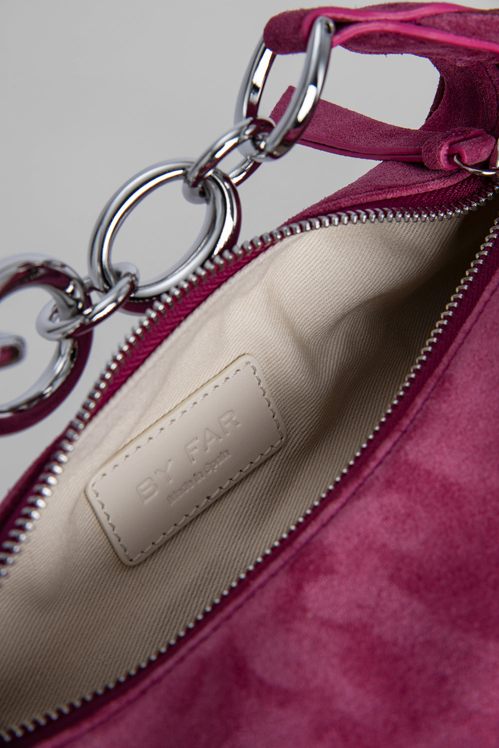 Bougie Fuchsia and Dark Brown Suede Leather