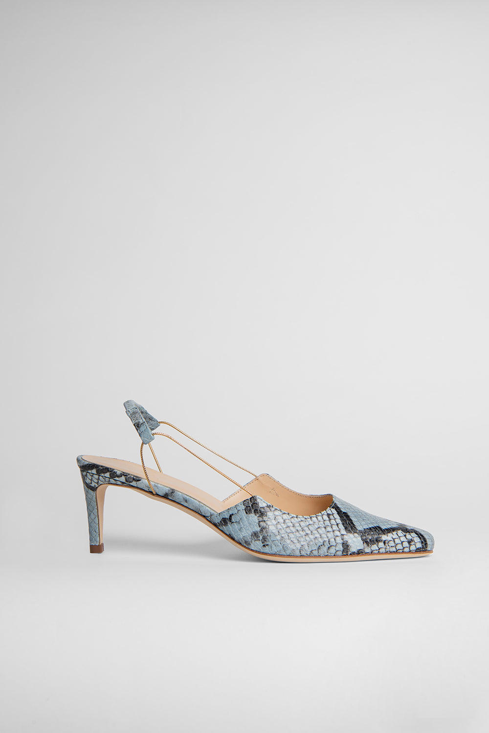 Gabriella Light Blue Snake Print Leather