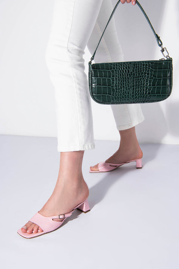 Pat Peony Circular Croco Embossed Leather