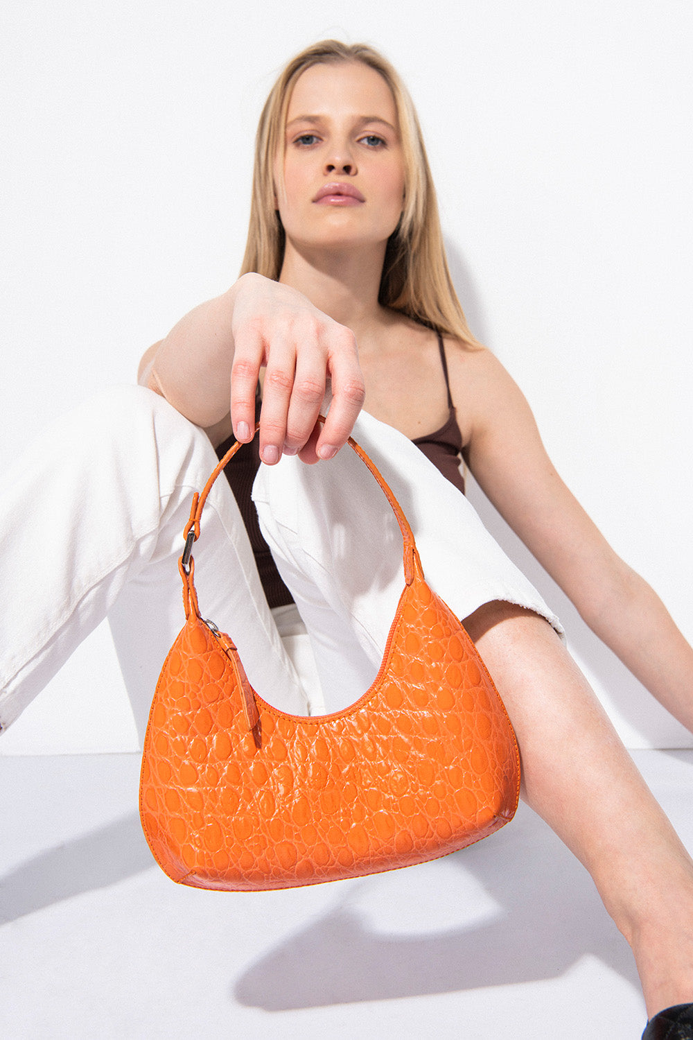 Baby Amber Papaya Circular Croco Embossed Leather