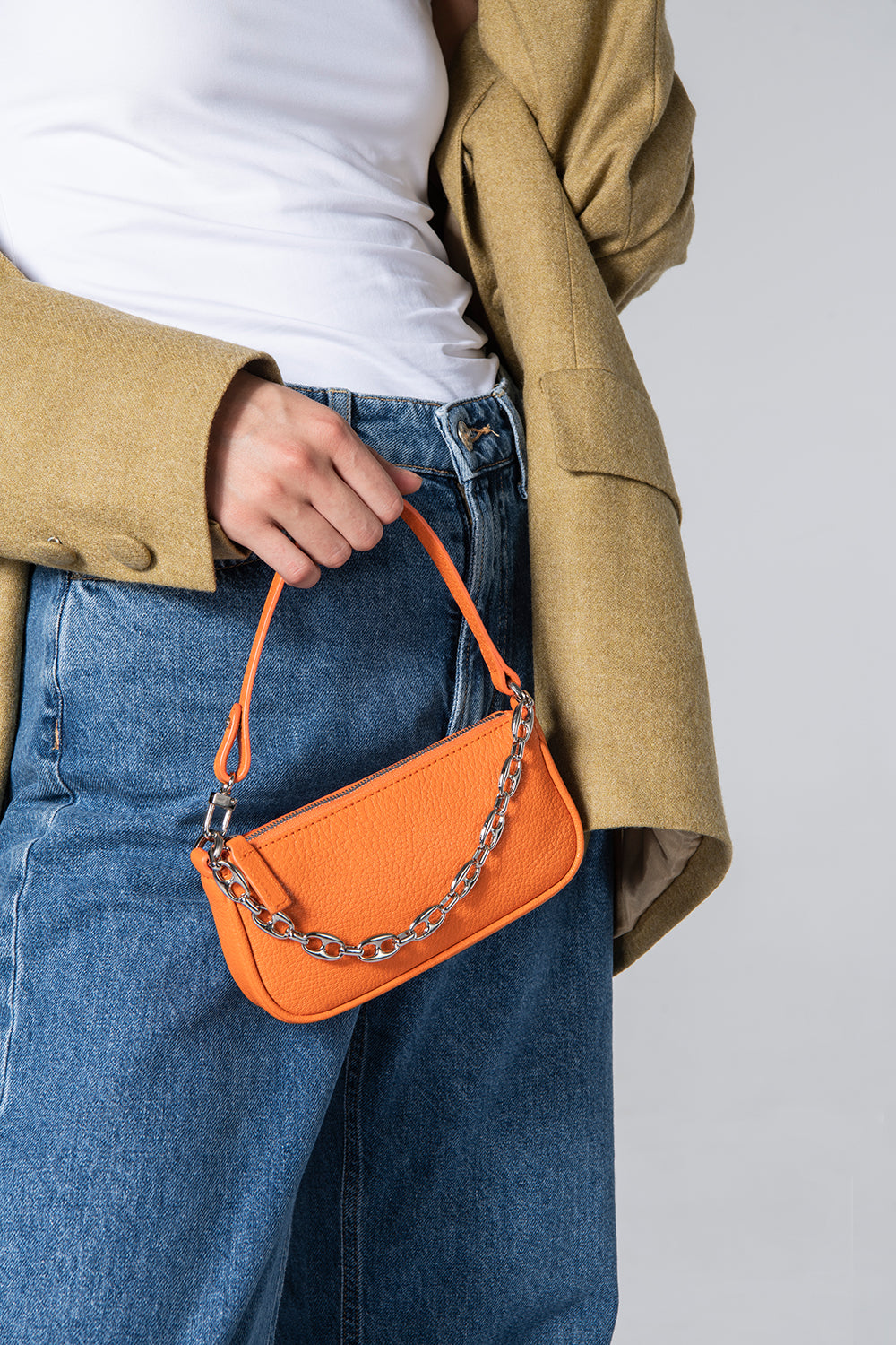 Mini Rachel Orange Grained Leather