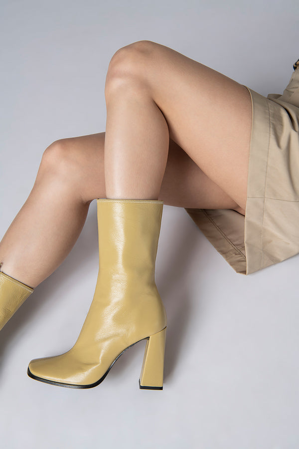 Linda Yellow Creased Leather