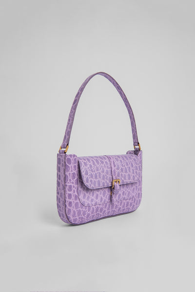Miranda Lilac Circular Croco Embossed Leather