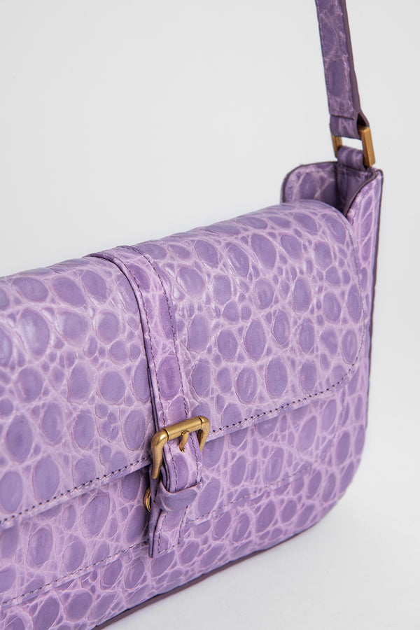Miranda Lilac Croco Embossed Leather