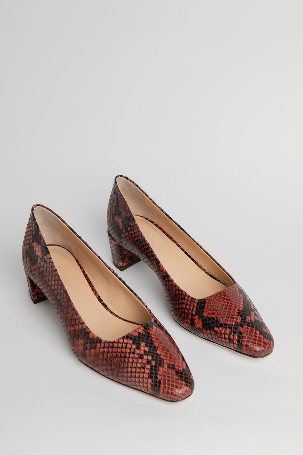 Andrea Burgundy Snake Print Leather