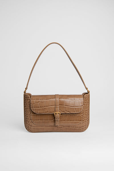 Miranda Taupe Croco Embossed Leather
