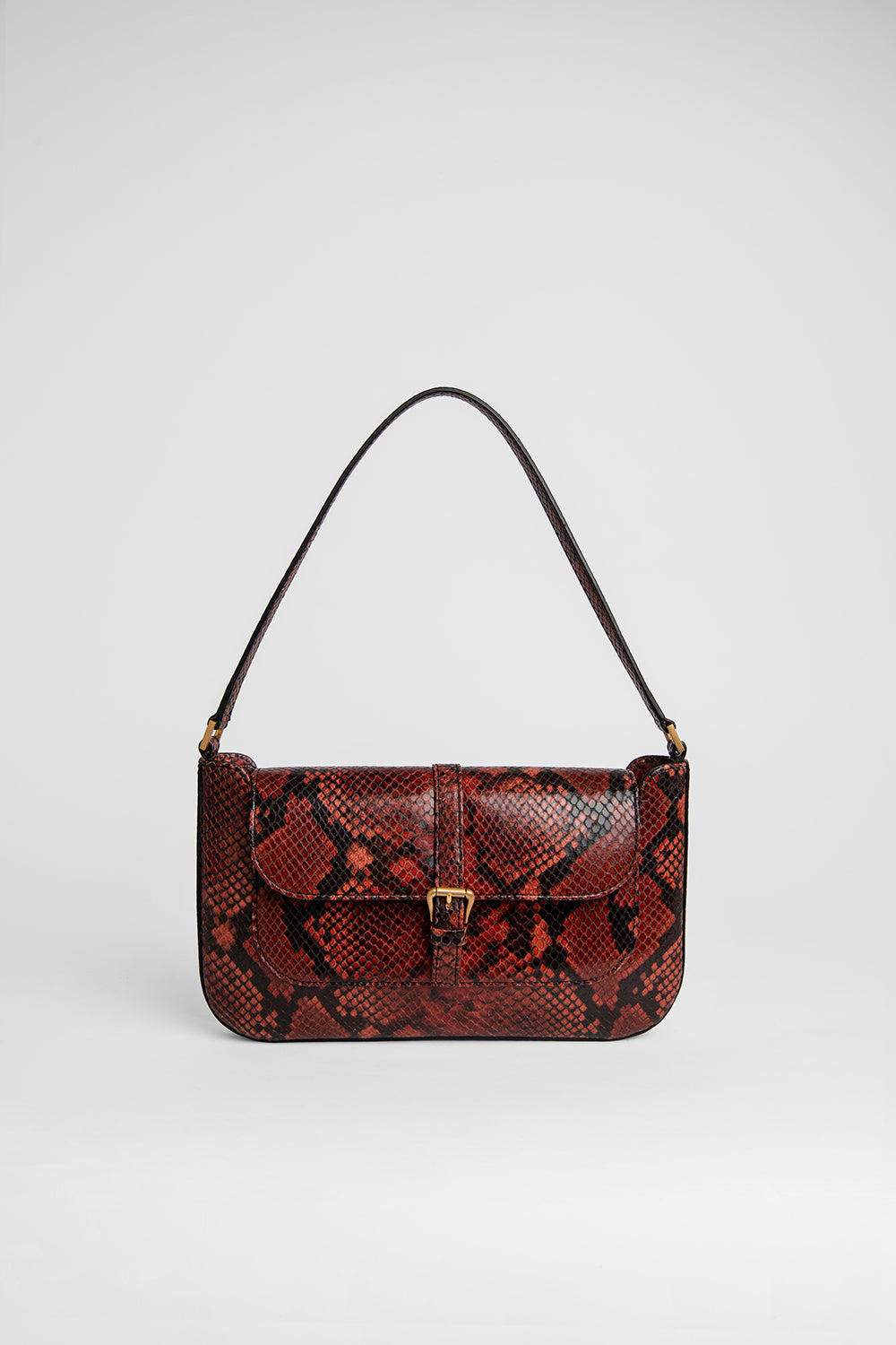 Miranda Burgundy Snake Print Leather