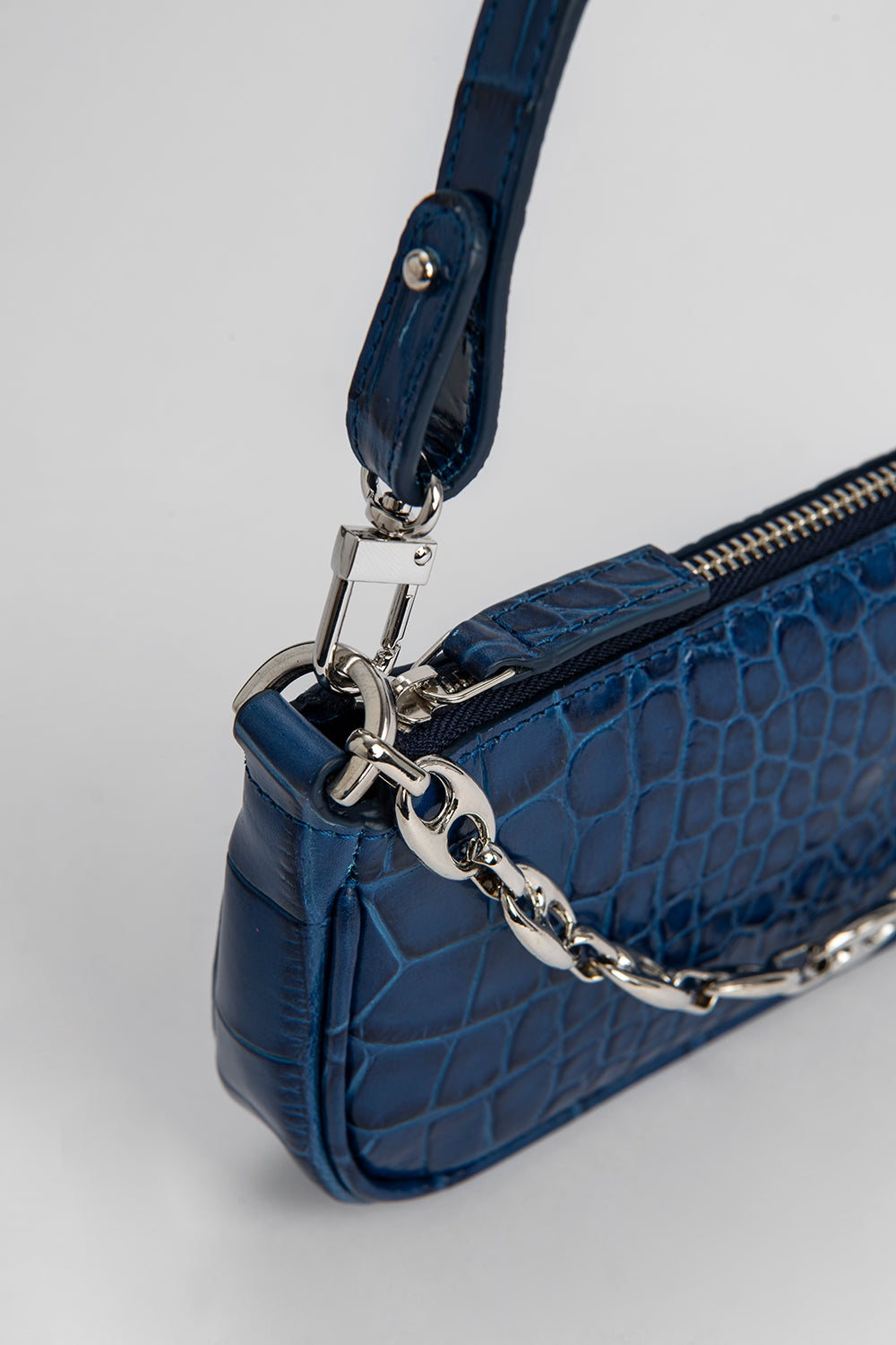 Mini Rachel Neptune Croco Embossed Leather