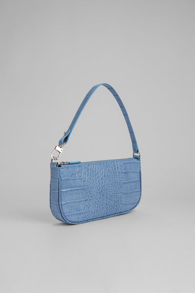 Rachel Blue Croco Embossed Leather