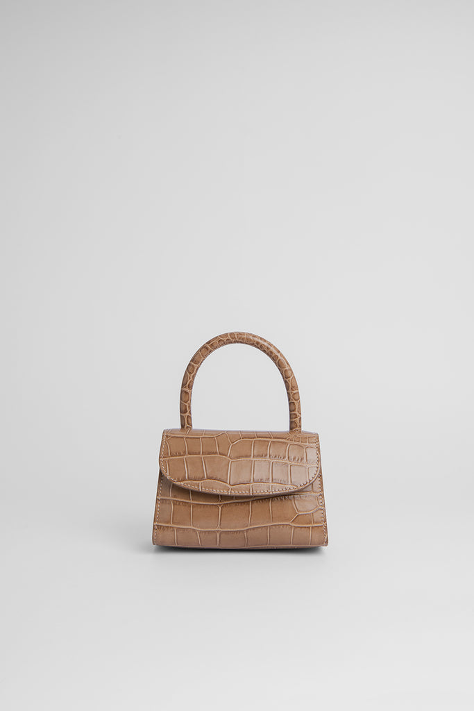 Mini Taupe Croco Embossed Leather