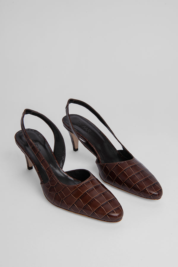Lauren Nutella Croco Embossed Leather