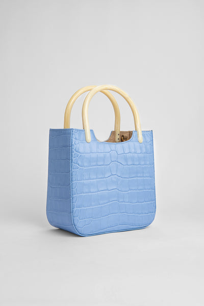 Eric Sky Blue Croco Embossed Leather