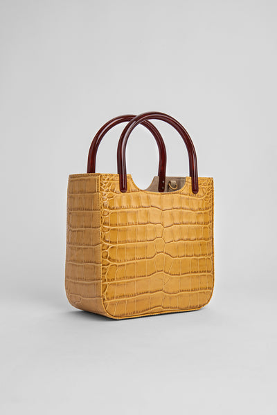 Eric Yellow Croco Embossed Leather