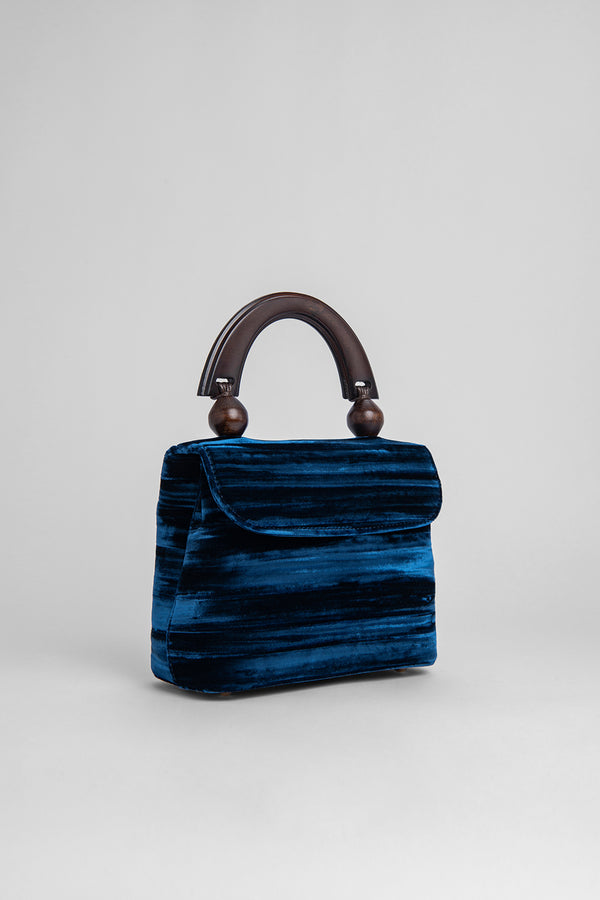 Mini Fiona Dark Blue Crushed Velvet