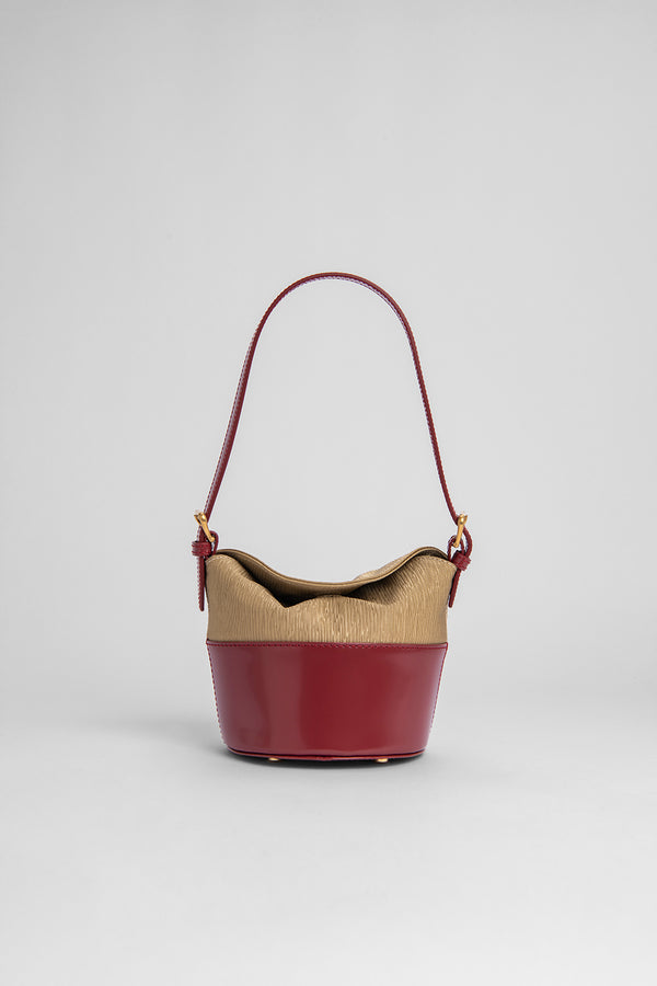 Mini Jamie Red Semi Patent and Beige Plisse