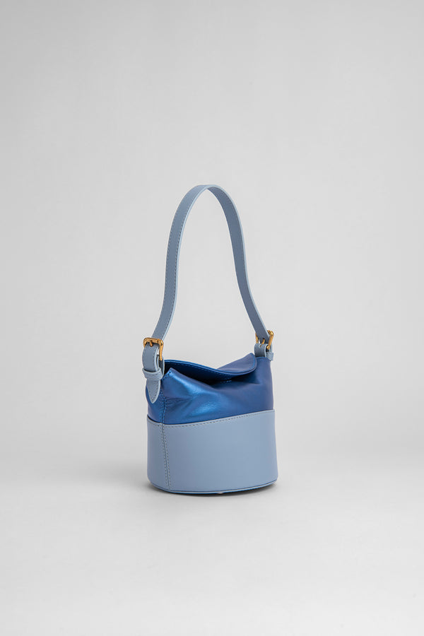 Mini Jamie Light Blue Pearl Shine Leather