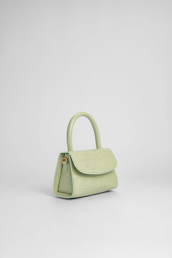 Mini Sage Green Croco Embossed Leather