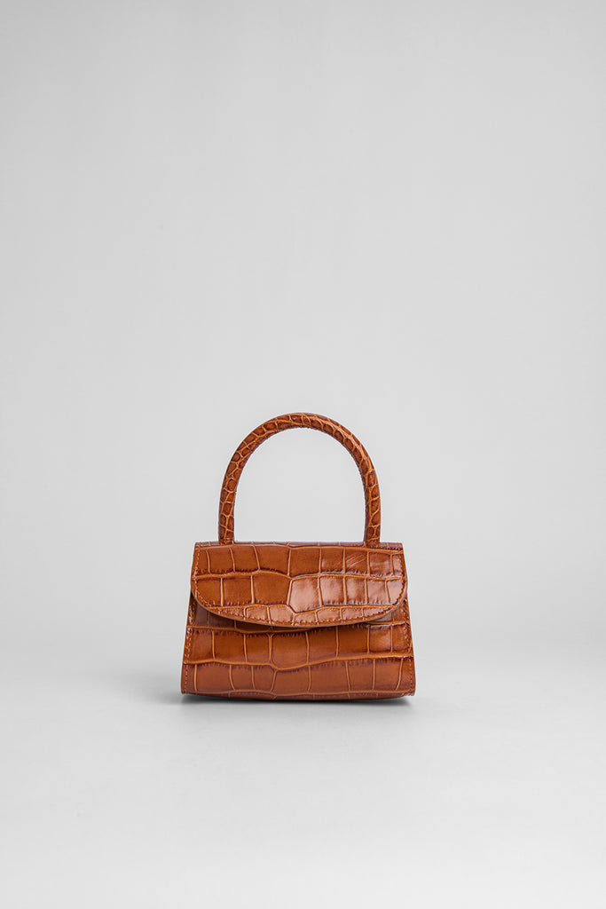 Mini Tan Croco Embossed Leather