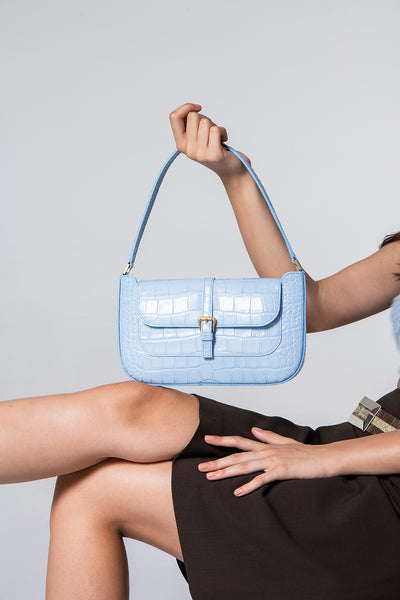 Miranda Sky Blue Croco Embossed Leather