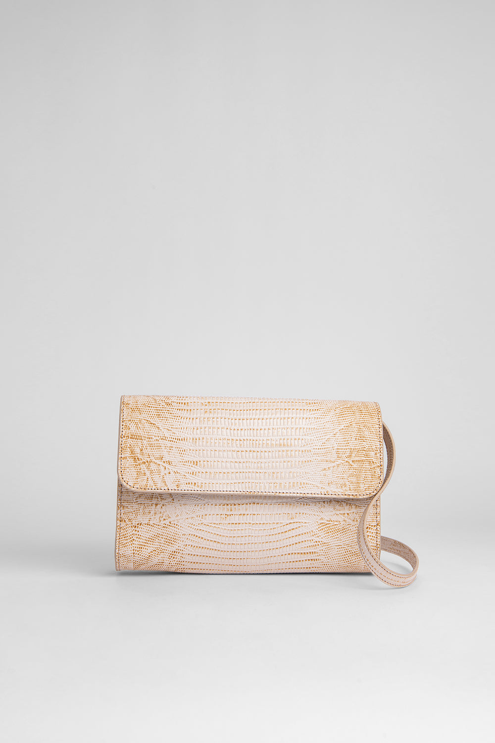 Crossover Nude Lizard Embossed Leather