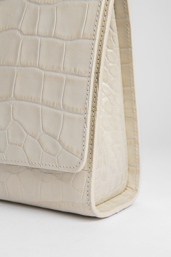 Ball Bag Cream Croco Embossed Leather