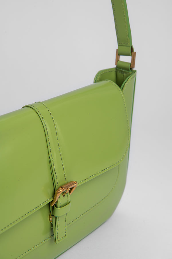 Miranda Lime Green Semi Patent Leather