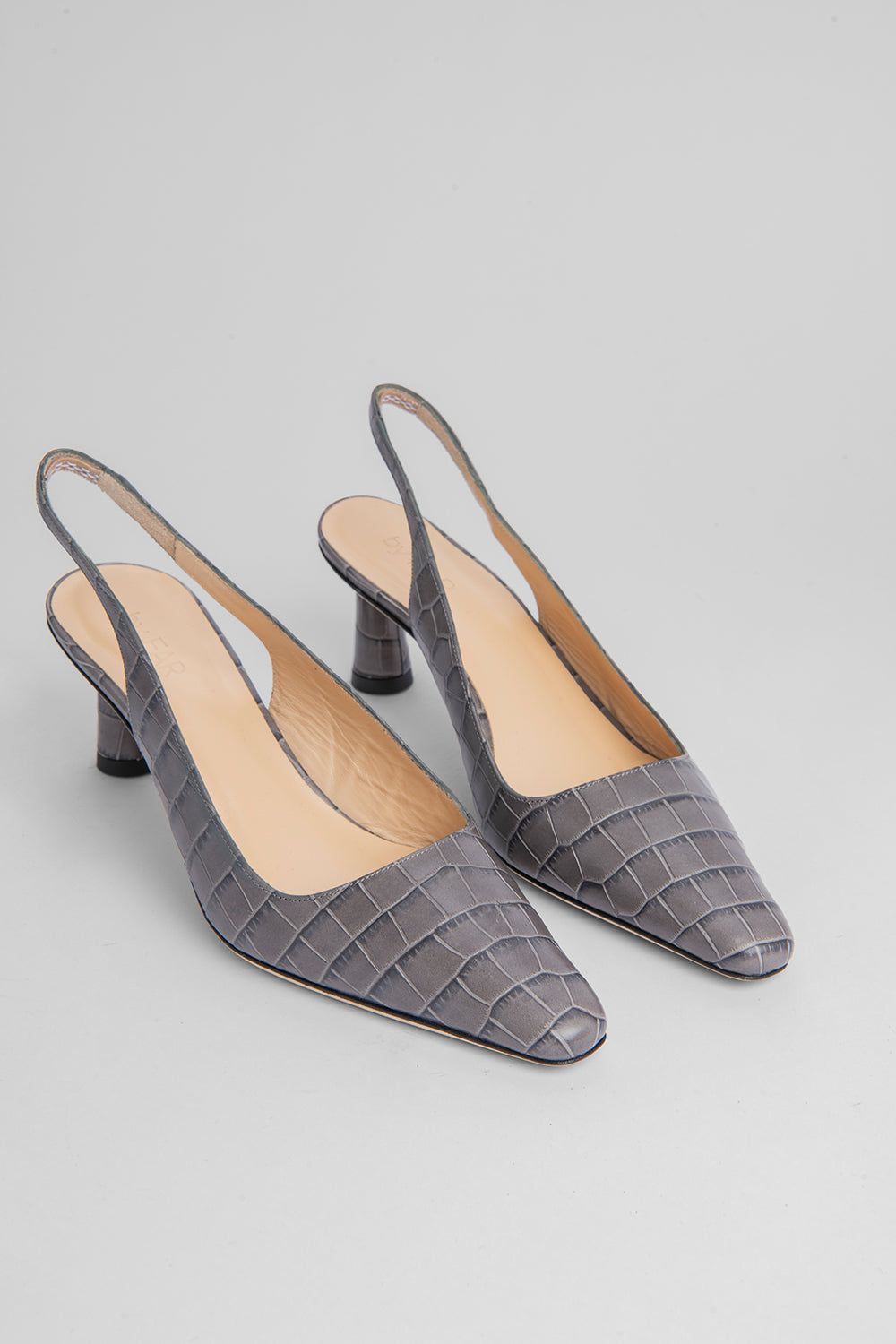 Diana Grey Croco Embossed Leather