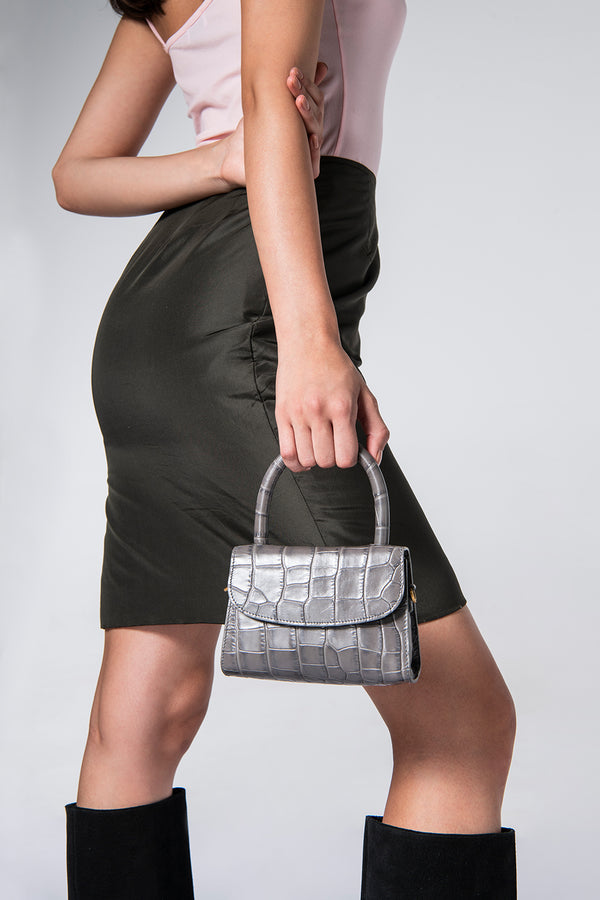 Mini Grey Croco Embossed Leather
