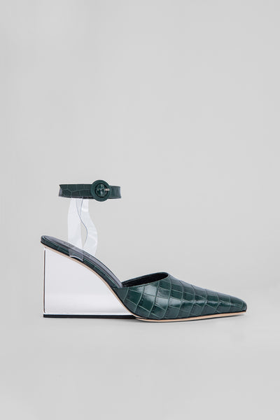 Lex Green Croco Embossed Leather