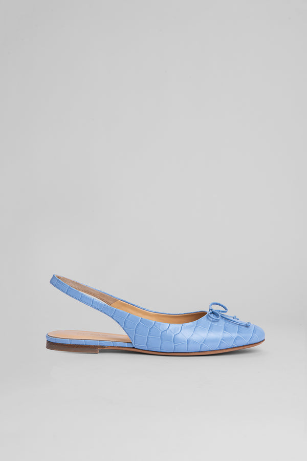 Toni Sky Blue Croco Embossed Leather