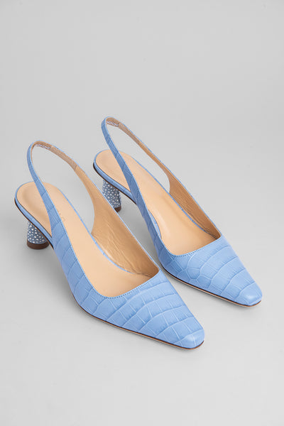 Diana Sky Blue Croco Embossed Leather