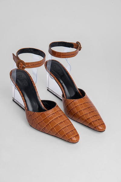 Lex Tan Croco Embossed Leather
