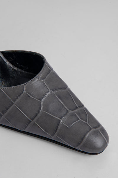 Lex Grey Croco Embossed Leather