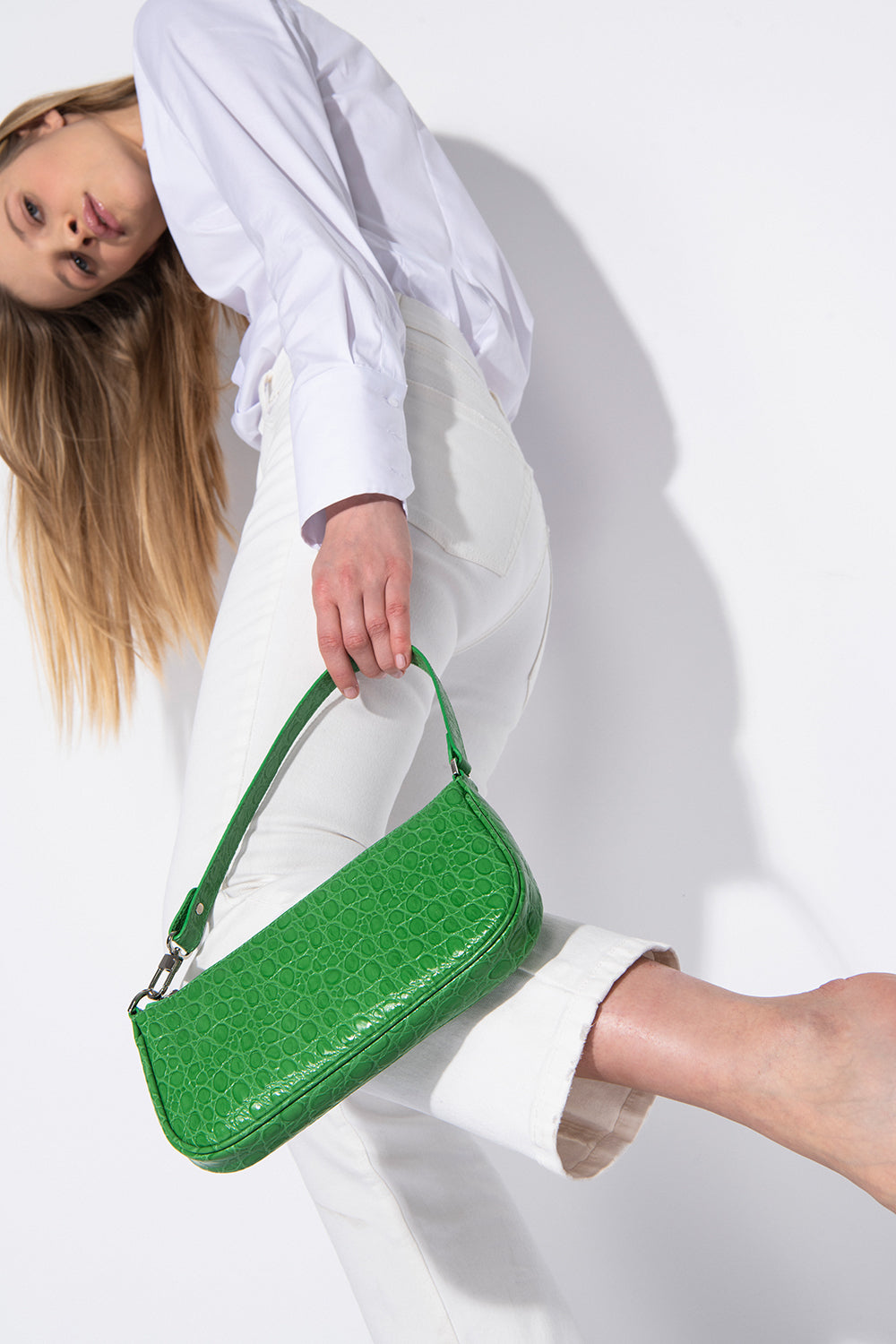 Rachel Emerald Circular Croco Embossed Leather