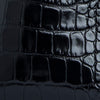 Amber Black Croco Embossed Leather