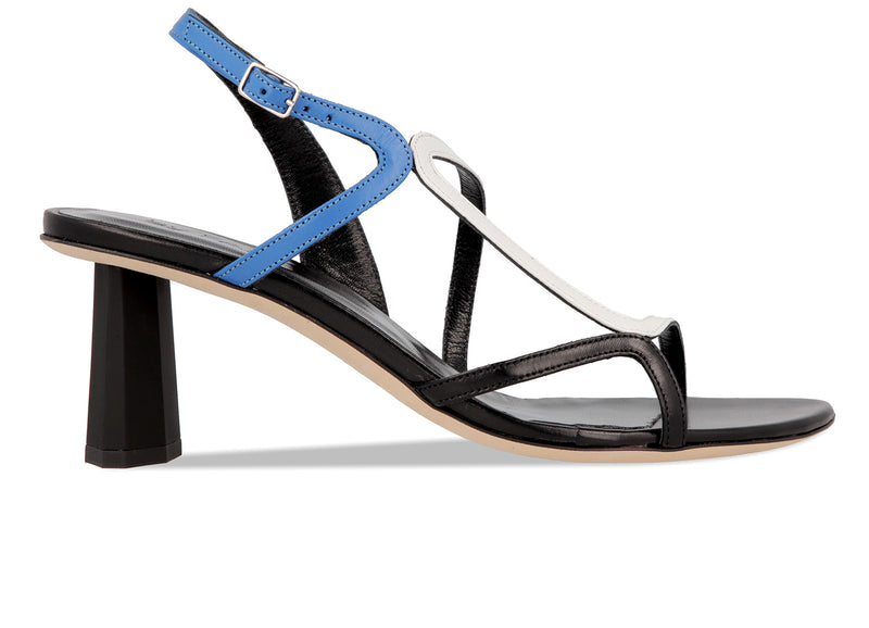 Brigette Marine Blue White and Black Leather