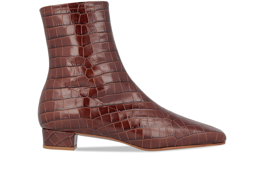 Este Boot Nutella Croco Embossed Leather
