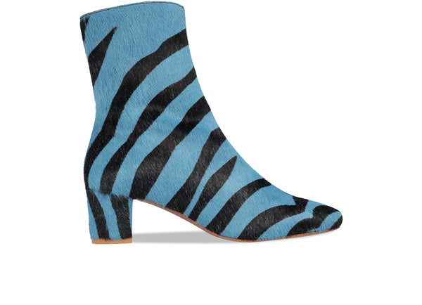 Sofia Blue Zebra-Print Pony Hair Leather