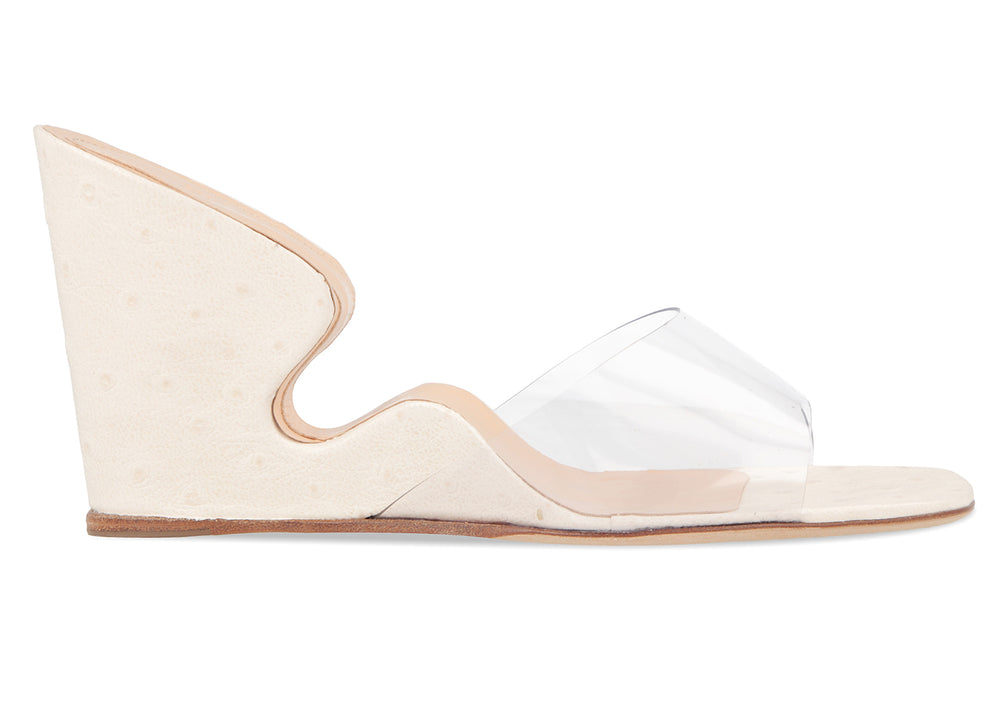 Greta White Ostrich Embossed Leather