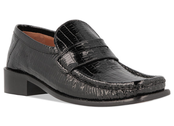 Britney Black Lizard Embossed Patent Leather
