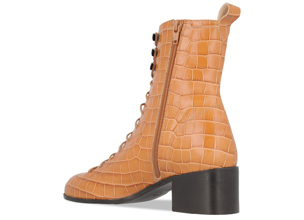Bota Beige Croco Embossed Leather