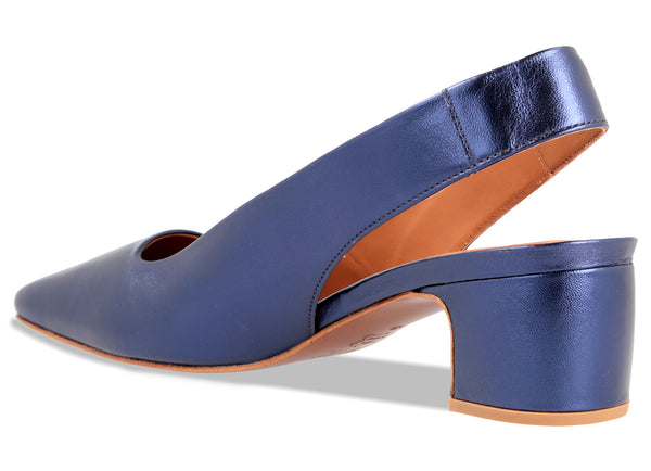 Danielle Dark Blue Metallic Leather