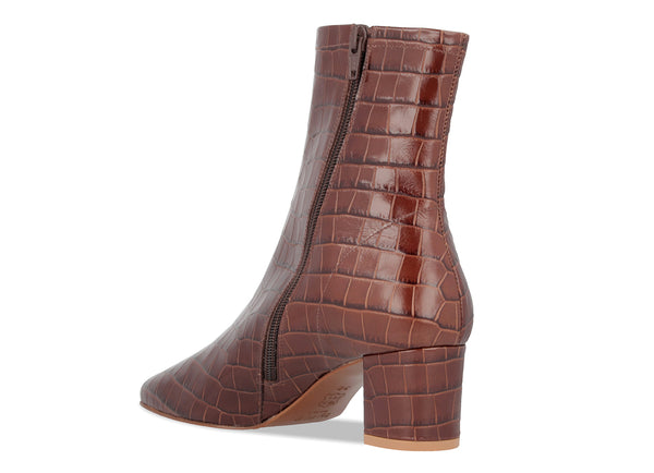 Sofia Nutella Croco Embossed Leather