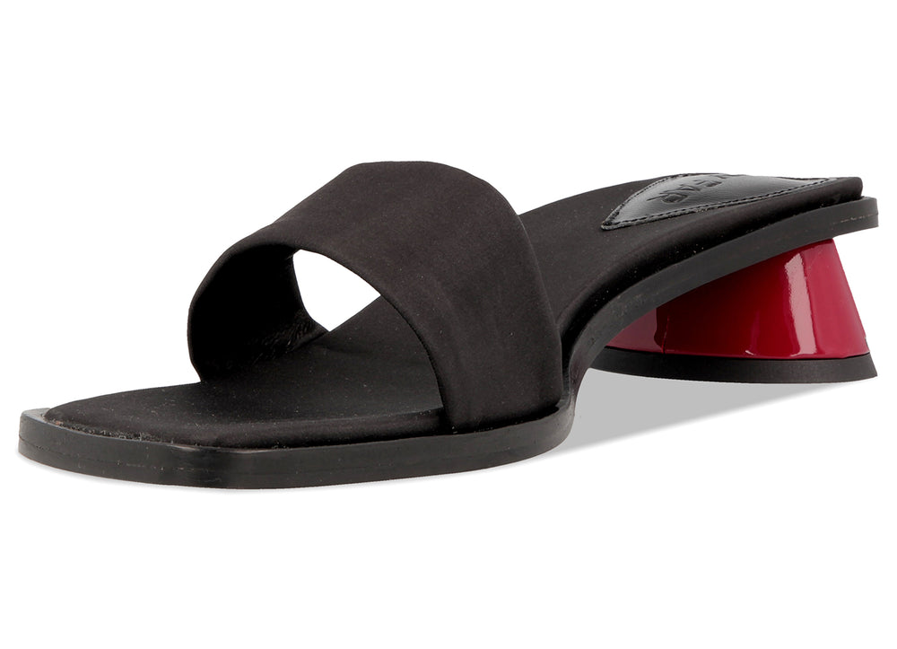 Sonia Black Raw Silk Red Patent Heel