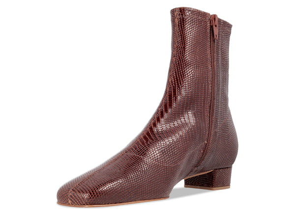Este Boot Brown Lizard Embossed Leather